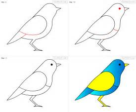 how to draw bird for step by step drawing tutorial