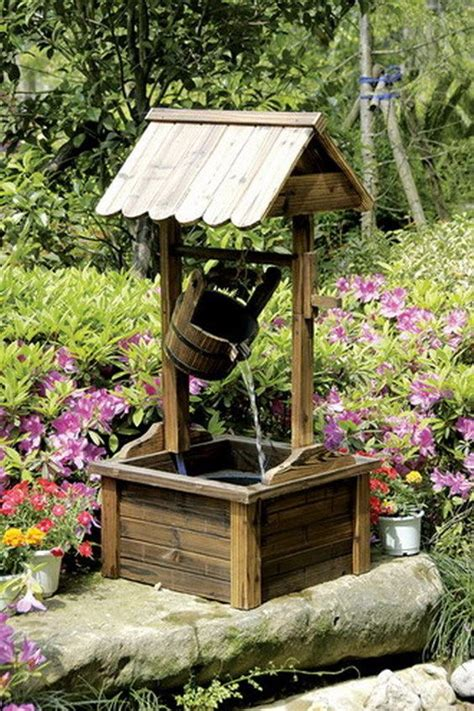 backyard well wishing well wood outdoor patio water fountain with pump