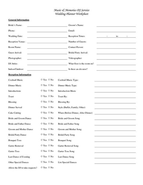 wedding dj song list template worksheets wedding planner worksheet opossumsoft