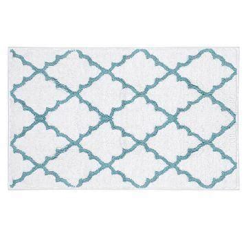 blue and white bath rug blue white lattice bath mat kirkland s