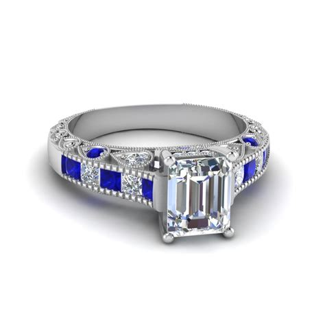 emerald cut antique channel set shank engagement