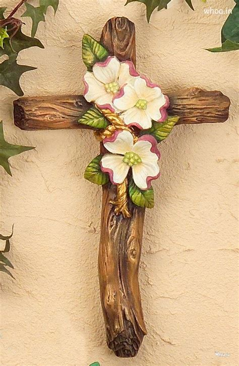 cristian cross decorated  artificial flowers