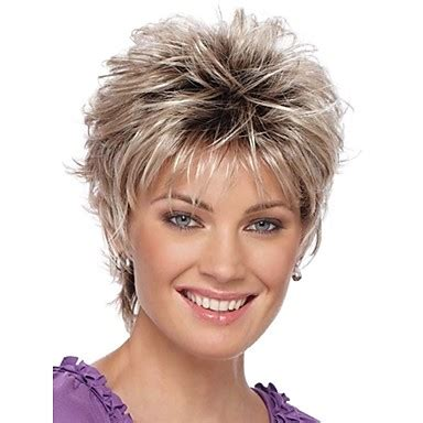 fake hair highlights for pixie cuts women s synthetic wig short curly silver ombre hair dark