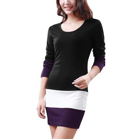 Tunik Xl sleeve tops color block tunic tops slim fit dress black size xl l3 ebay