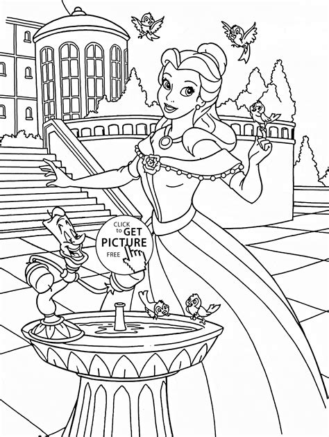 coloring page of a princess castle princess bell in the castle coloring page for disney