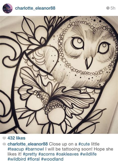 charlotte eleanor owl tattoo teacup tattoo flower