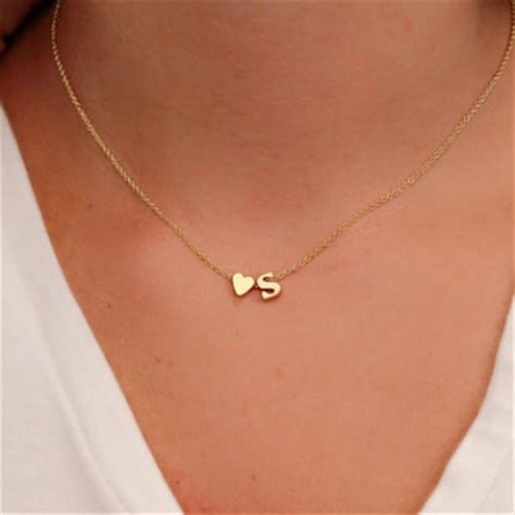 best necklaces for short necks in women fashion tiny dainty heart initial necklace personalized