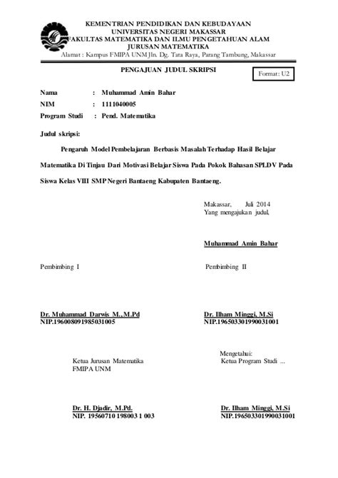 format proposal judul skripsi format pengajuan judul