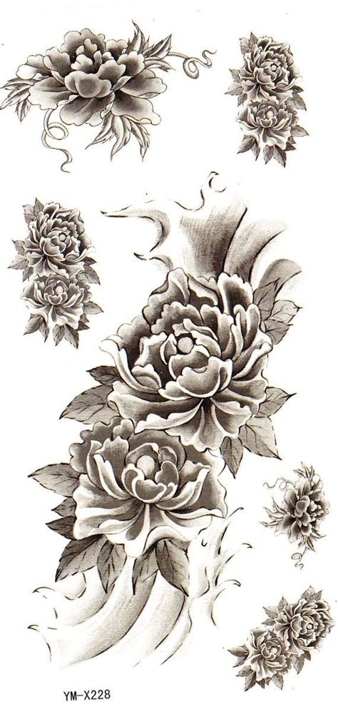 fake rose tattoos black flower