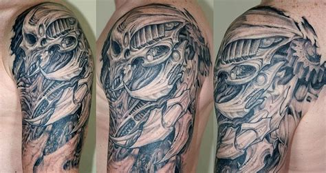 biomechanical tattoo book biomechanical skull tattoo on shoulder tattoos book 65