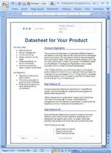 Product Data Sheet Template by Datasheet Sle Microsoft Word Data Sheet Templates