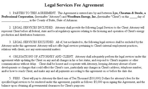 Exle Document For Legal Services Fee Agreement Pay For Access Retainer Agreement Template