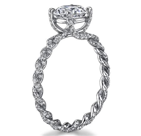 engagement ring braided pave engagement ring in