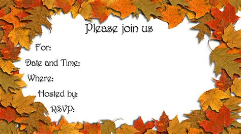 autumn leaves invitations free printable fill in