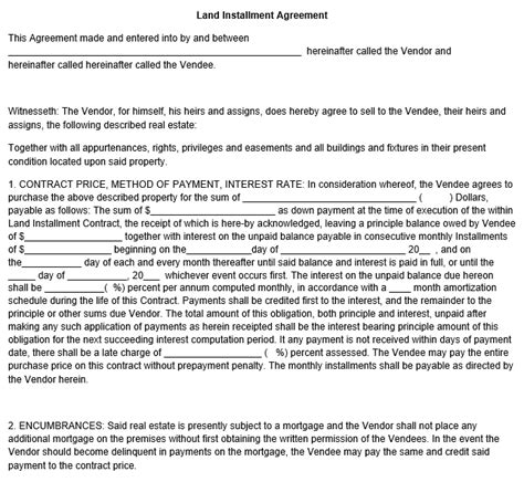 land agreement template land installment agreement template
