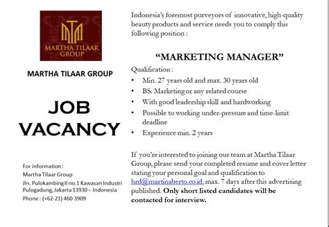 contoh application letter marketing manager contoh vacancy marketing manager 600 tips