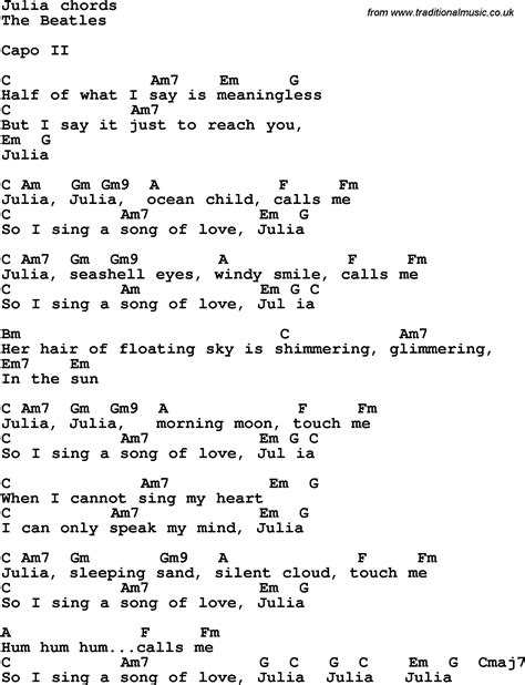 Guitar Chords Beatles Songs