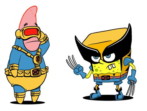 marvel mashups simpsons vs spider man spongebob vs x men