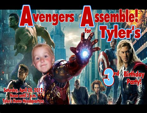 avengers personalized photo birthday invitations 2012c