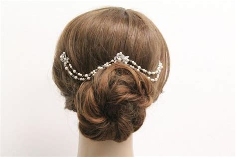 Vintage Style Wedding Hair Pieces by Bridal Hair Chain Pearl Wedding Hair Accessories Bridal