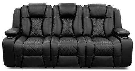 black and white leather reclining sofa lonzo leather look fabric power reclining sofa black