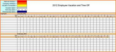 vacation tracker template 7 sick and vacation spreadsheet excel spreadsheets