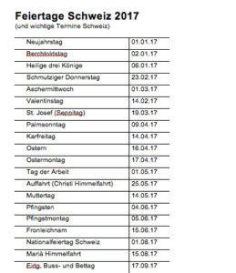Muster Kã Ndigung Versicherung Feiertagskalender 2017 Schweiz Muster Und Vorlagen Kostenlos