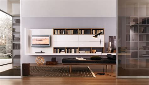modern living room wall units  book storage