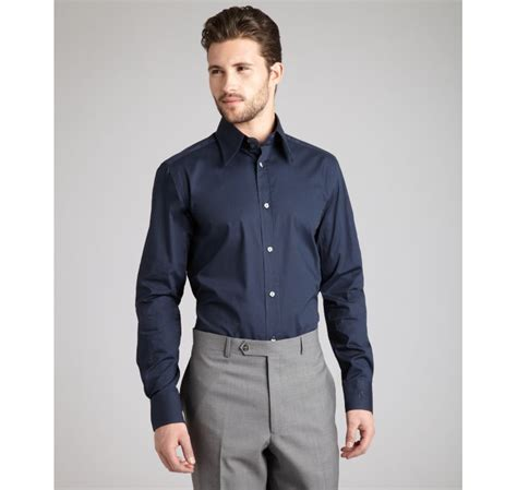 Dress Collar Oxford Navy Mocca lyst dolce gabbana navy stretch cotton gold embroidered cuff dress shirt in blue for