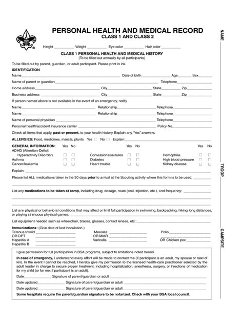free personal health record template bsa form 5 free templates in pdf word excel