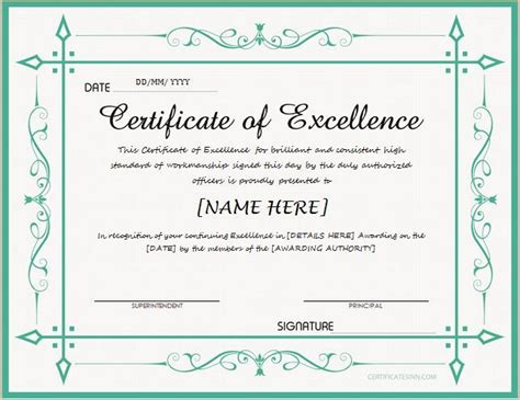 certificate of excellence template word certificate of excellence for ms word at http