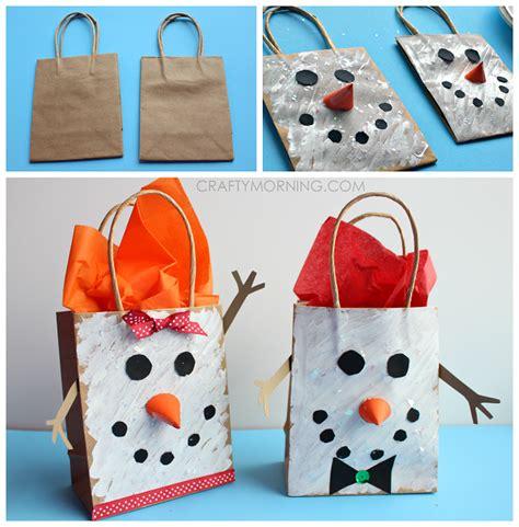 Paper Bag Snowman Craft - crafts yarn bag