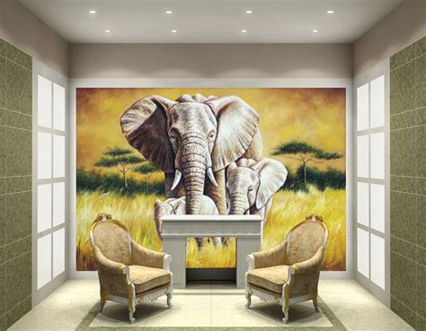 online 3d home paint design 2 elephant wall mural art image
