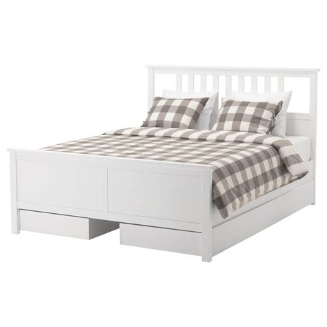 double sized bed hemnes bed frame with 4 storage boxes white stain lur 246 y