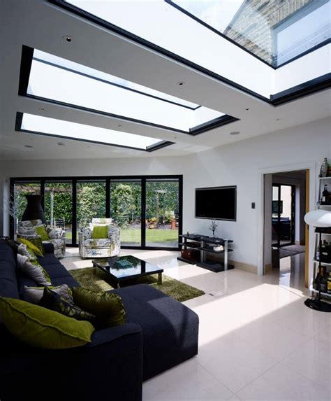 Open Kitchen Dining And Living Room Floor Plans by Contemporary Garden Room Flat Roof Lights Transform