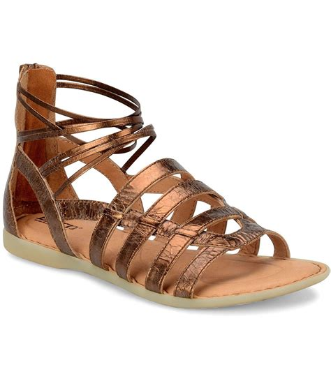 born gladiator sandals born angeles metallic leather caged banded back zip