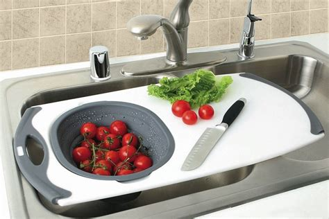 kitchen sink with cutting board and colander the ideal over the sink cutting board hardwoodchef com