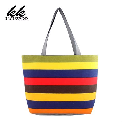 Big Printed Canvas Tote Bag Tas Kanvas Motif 1 tangimp striped handbags canvas cotton black handles tote opvouwbare tas eco shopping