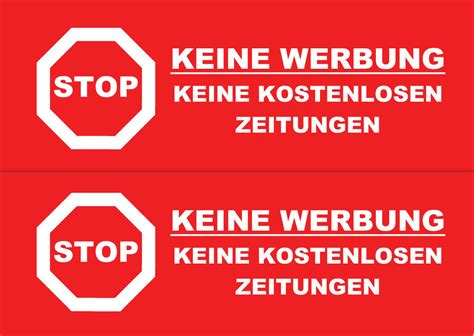 Aufkleber Keine Werbung Keine Kostenlosen Zeitungen by 10 5x2 Aufkleber Briefkasten Stop Keine Werbung Keine
