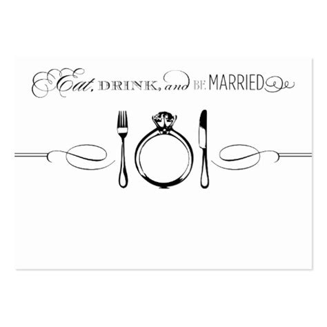 escort place card eat drink be married large business