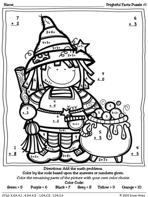 halloween coloring pages math halloween math color by number addition sketch coloring page