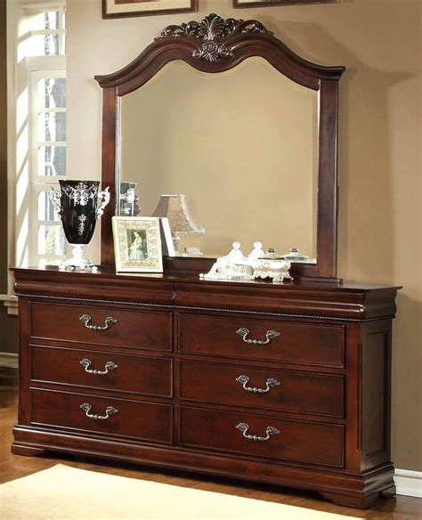Cherry Wood Dresser With Mirror by Mandura Traditional Cherry Solid Wood Veneer Dresser And