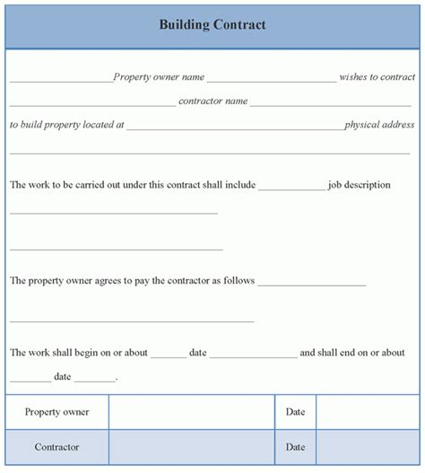 building agreement template contract template for building format of building