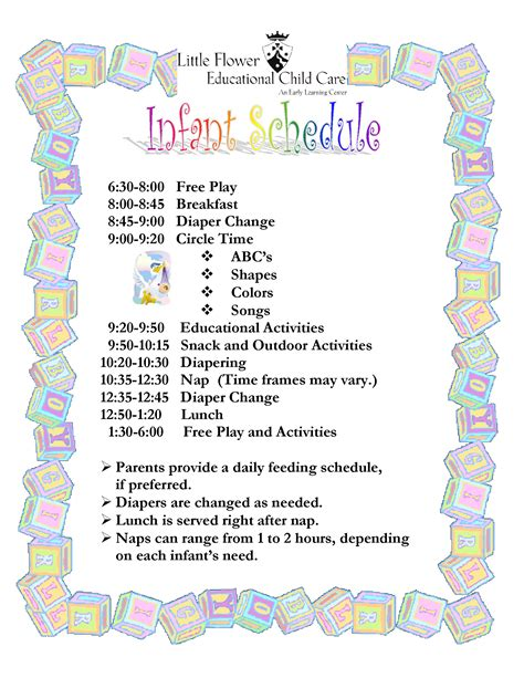 child care daily routine template infant daily schedule for daycare daily agenda calendar