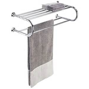 hotel style chrome towel rack and shelf in wall towel racks