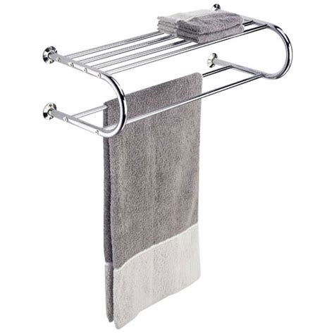 Hotel Towel Rack Shelf by Hotel Style Chrome Towel Rack And Shelf In Wall Towel Racks