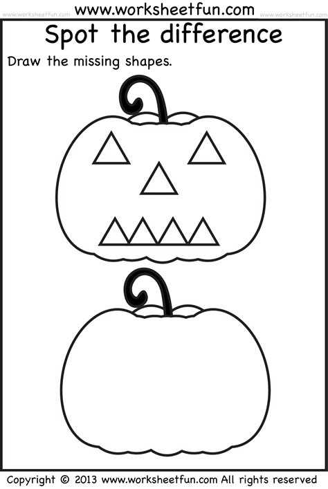 free printable halloween worksheets for preschoolers spot the difference 1 worksheet free printable