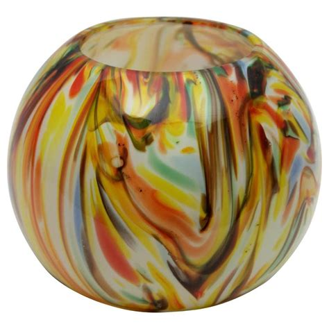 glass globe vase 1960s multicolor latticino murano glass globe vase for