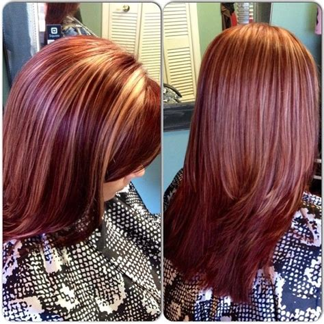 mahogany red hair with high lights mahogany red with blonde highlights hair pinterest