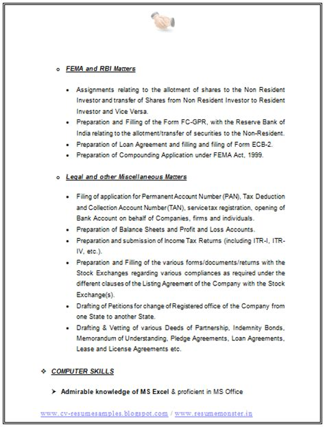 cs professional resume format 10000 cv and resume sles with free resume format for a llb cs